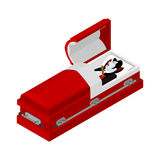 Death of Dracula. Vampire Count in an open coffin. stock illustration