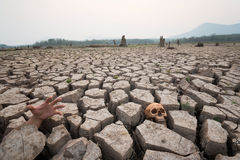 Death on drought with human part Royalty Free Stock Photo