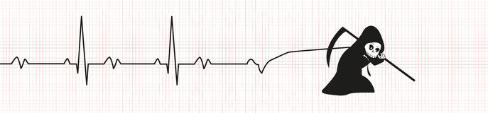 Death with EKG. The Death stretches the EKG Royalty Free Stock Photo