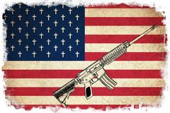 Death Flag of USA with guns Stock Image