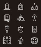 Death and funeral icon set Stock Photography