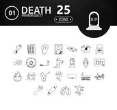 DEATH & FUNERAL set of outline icons vector illustration