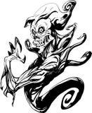 Death ghost body tattoo. Death ghost body line art tattoo Royalty Free Stock Photo