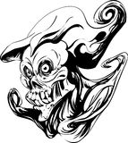 Death ghost tattoo. Death ghost head tattoo isolated Stock Photography