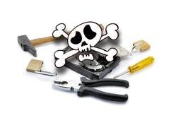 Death'head sobre el disco duro abierto con las herramientas Fotografía de archivo