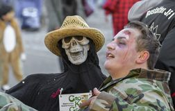 Death holding his victim at German fastnacht carnival