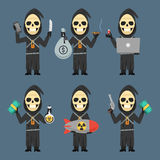 Death Holding Laptop Phone Bomb Weapons Money Royalty Free Stock Photography