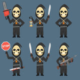 Death Holds Hourglass Machete Weapons Chainsaw Royalty Free Stock Photo