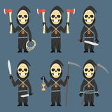 Death Holds Scythe Ax Machete Hourglass Royalty Free Stock Images