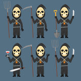 Death Holds Scythe Pitchfork Shovel Knife Wine Stock Photo
