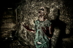 Death. Horrible scary zombie man on the ruins of an old house. Horror. Halloween Royalty Free Stock Photo