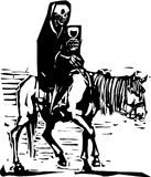 Death on a Horse. Woodcut expressionist style image of Death on a horse drinking wine vector illustration