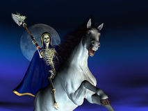Death on Horseback. 3D render of a skeleton riding a horse and wielding an axe stock illustration