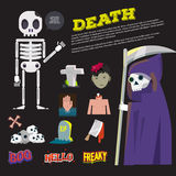 Death icon and the reeper character come with death typographic Stock Photography