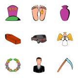 Death icons set, cartoon style Royalty Free Stock Photos
