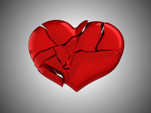 Death and illness. Red Broken Heart. Over grey background Stock Photography