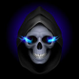 Death image. Skull in black hood with blue fiery eyes as image of death. Grim Reaper Royalty Free Stock Photos
