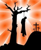 The Death of Judas Iscariot Silhouette. Illustration featuring silhouette of Judas Iscariot hung from a tree with three crosses on background. Eps file is Royalty Free Stock Image