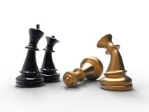 Death of the king. 3d illustration of chess pieces with a dead king on white background Stock Images