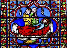 Death King Stained Glass Notre Dame Cathedral Paris France Royalty Free Stock Image