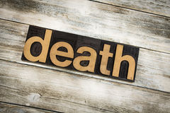 Death Letterpress Word on Wooden Background Stock Photo