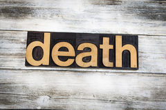 Death Letterpress Word on Wooden Background Royalty Free Stock Images