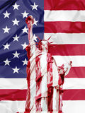 Death of Liberty. Methaforic illustration about the death of the Liberty, composition of the Liberty Statue covered with a bloody sheet on american flag vector illustration