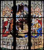 The death of Louis XIII in the presence of St Vincent de Paul, Anne of Austria, the future Louis XIV and Cardinal Mazarin. Stained glass in St Severin church stock photo