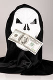 Death mask with a bill Royalty Free Stock Photography