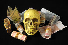 Death and Money Concept Skull Stock Image