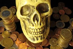 Death and Money Concept Skull and Currency Royalty Free Stock Image