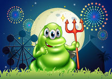 A death monster at the carnival with a firework display. Illustration of a death monster at the carnival with a firework display Royalty Free Stock Image