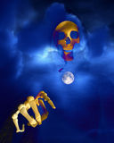 Death And Moon 7. An image of death against a moonlight sky Stock Images