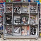 Death of Nelson Mandela. News stand showing headlines of the death of Nelson Mandela Stock Image
