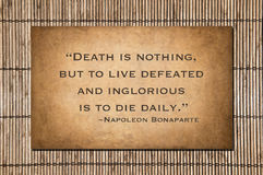 Death is nothing - Napoleon Bonaparte quote Royalty Free Stock Photography