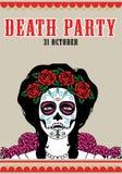 Death party poster. Catrina illustration. Catrina skull illustration of mexican traditional festivity. Death skull illustration stock illustration