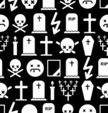 Death pattern seamless. Tombstone and cross background. Cemetery and skull. Candle and mourning frame stock photos