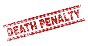 Scratched Textured DEATH PENALTY Stamp Seal. DEATH PENALTY seal print with distress texture. Red vector rubber print of DEATH PENALTY tag with retro texture vector illustration