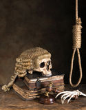 Death penalty. Symbols of death penalty like noose, judge's wig and skull stock photography