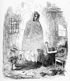 Death is the poor man`s friend. Death is pictured as the poor man`s friend in this engraving from Punch magazine in the 1880s Royalty Free Illustration