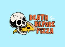 DEATH BEFORE PIZZA SKULL AND PIZZA SLICE COLOR stock illustration
