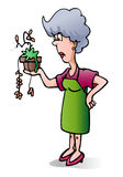 Death plant. Illustration of a death plant on pot hold by mid age woman isolated on white background stock illustration