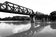 The death railway bridge at Kanchanaburi. Thailand stock photo