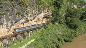 Death Railway bridge over the Kwai Noi river royalty free stock images