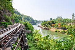 Death Railway bridge over the Kwai Noi river Stock Photo