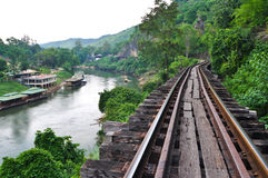 Death of railway bridge at the River Kwai, Thamkra Stock Photography