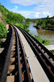 The Death Railway in Kanchanaburi, Thailand. The Death Railway over Khwae Noi river during world war II in Kanchanaburi, Thailand Stock Photos