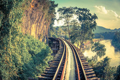 Death Railway in Thailand. Part of death railway beside the cliff and along the Kwai River Royalty Free Stock Photography
