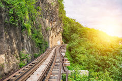 Death railway train wooden history of world war II. In river kwai at kanchanaburi,thailand Stock Photo