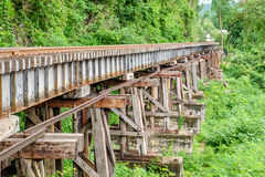 Death railway train wooden structure history of world war II. In river kwai in kanchanaburi,thailand Stock Photos